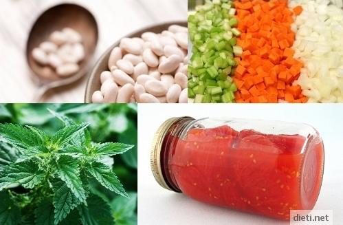боб, коприва, домати, моркови
