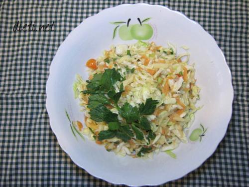 Засищаща салата със зеле, моркови и ябълка
